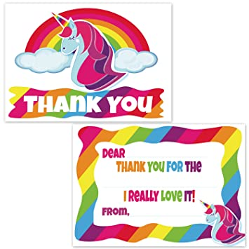 Amazon Com Unicorn Birthday Party Thank You Cards For Girls Easy