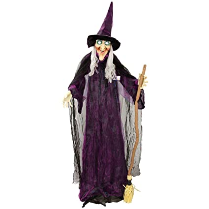 halloween haunters 6 foot animated standing scary evil wicked witch broomstick prop decoration turning body