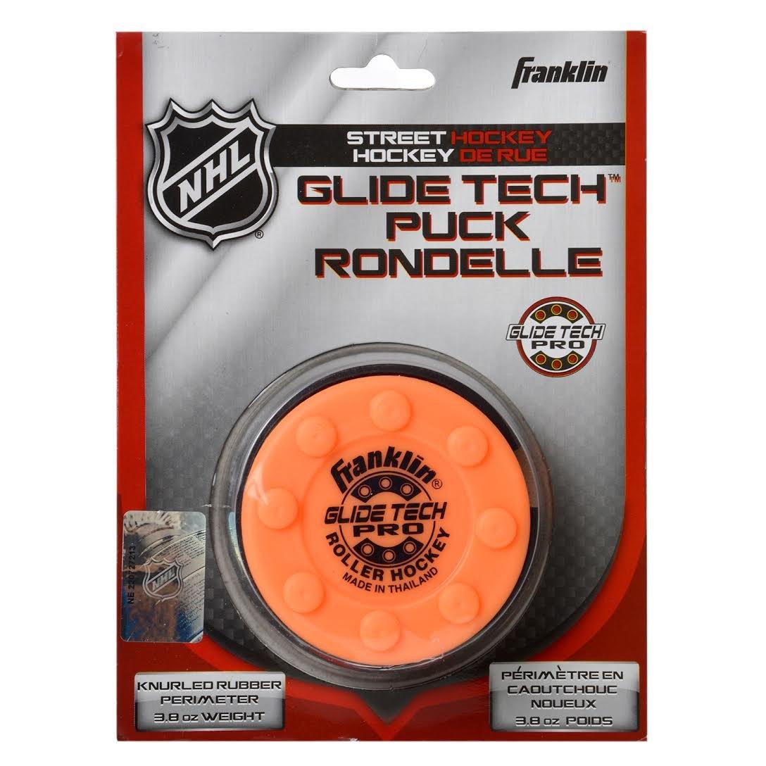 FRANKLIN - Streethockey-Puck Glide Tech Pro NHL I Puck für Roller-& Inlinehockey I Straßenhockey-Puck I für alle Oberflächen geeignet I PVC Puck mit niedriger Reibung I hohe Geschwindigkeit - Orange FRAPD|#Franklin 12237E2