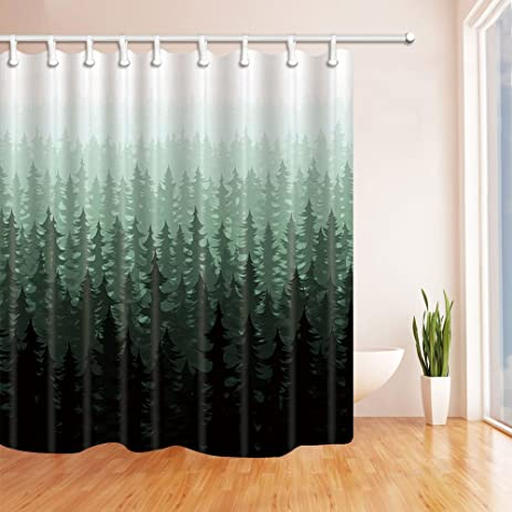 NYMB Nature Forest Landscape Decor, Watercolor Pine Trees Shower Curtains  For Bathroom, Polyester Fabric