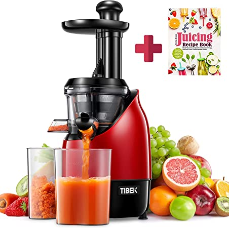 Slow Juicer Masticating Juicer Machine, TIBEK Juicers Whole Fruit and Vegetables, High Nutrition Juicers Easy to Clean, Cold Press Juicer with Quiet