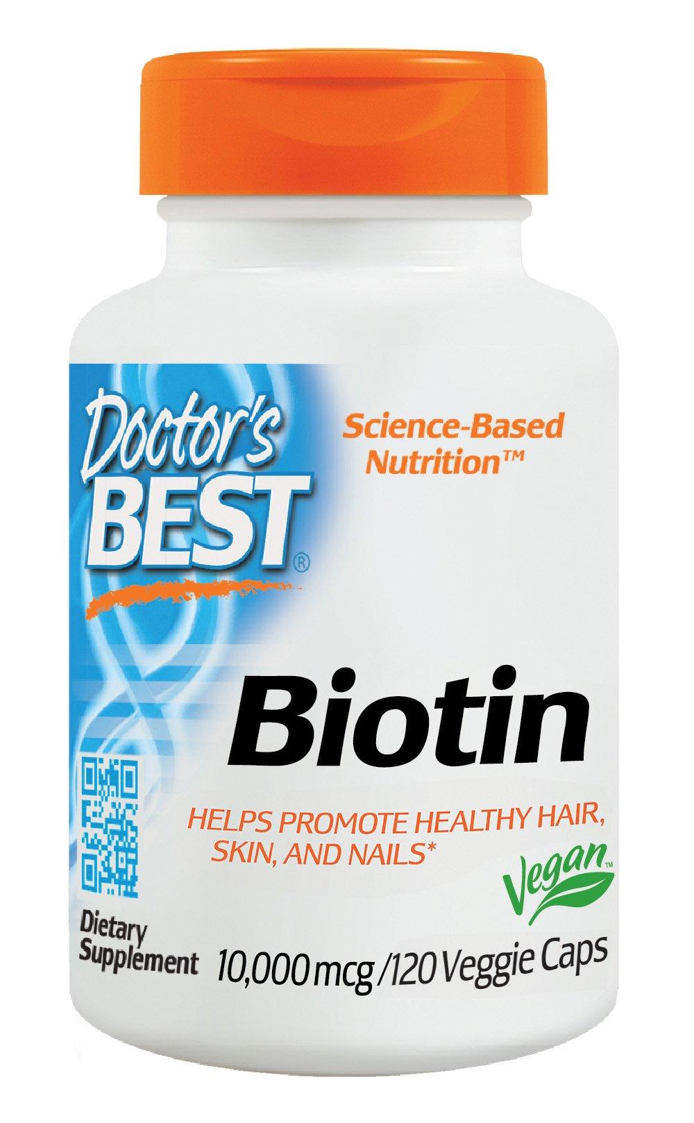 Doctor's Best Biotin, Non-GMO, Vegan, Gluten Free, Supports Hair, Skin, Nails, 10,000 mcg, 120 Veggie Caps