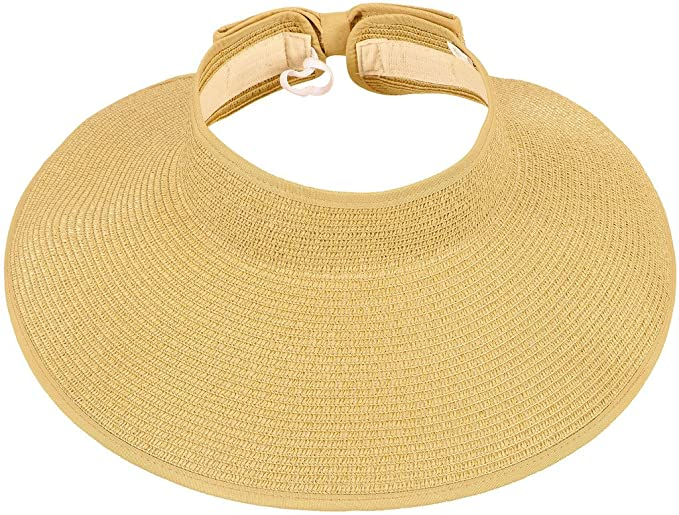 Amazon.com  TAUT Women s Roll up Wide Brim Straw Hat Visor with Bow ... 4eb56b1f1e25