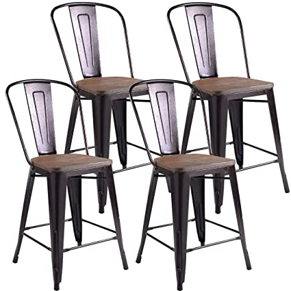 COSTWAY 24u0026quot; Tolix Style Dining Stools With Wood Seat And Backrest,  Industrial Metal Counter