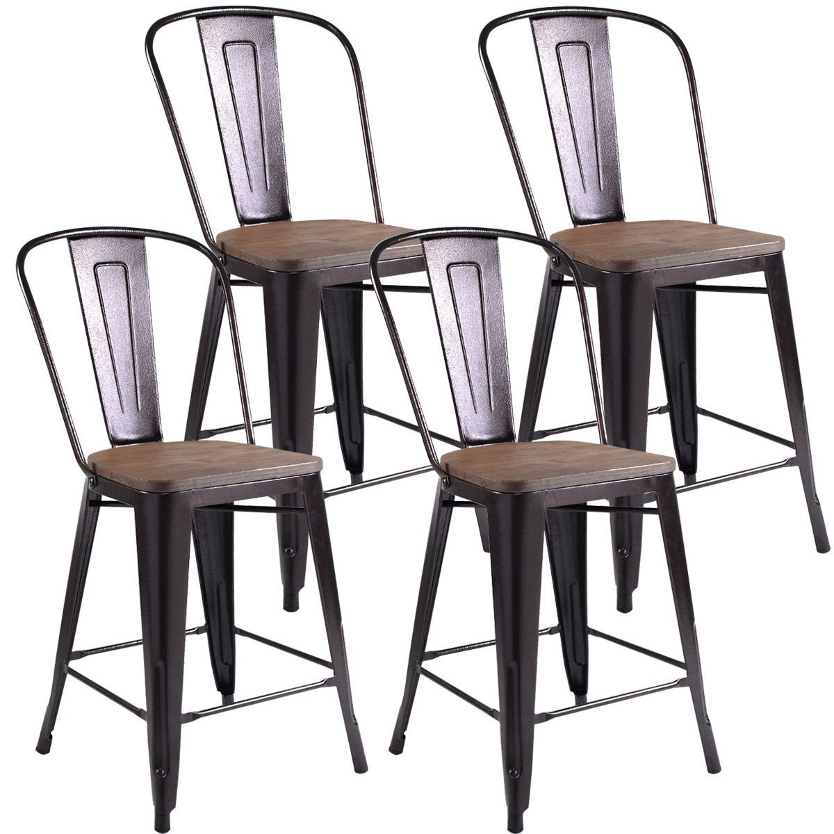 Costway 23.6'' Copper Set of 4 Metal Wood Counter Stool Kitchen Dining Bar Chairs Rustic