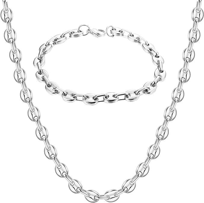 AURSTORE/® Parure Bracelet ET Chaine Homme Acier INOX Massif Grain DE CAF/É,Collier Biker,Taille et Couleurs au Choix