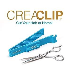 Original CreaClip Bangs and Scissors – As seen on Shark Tank – Professional Hair Cutting Tool