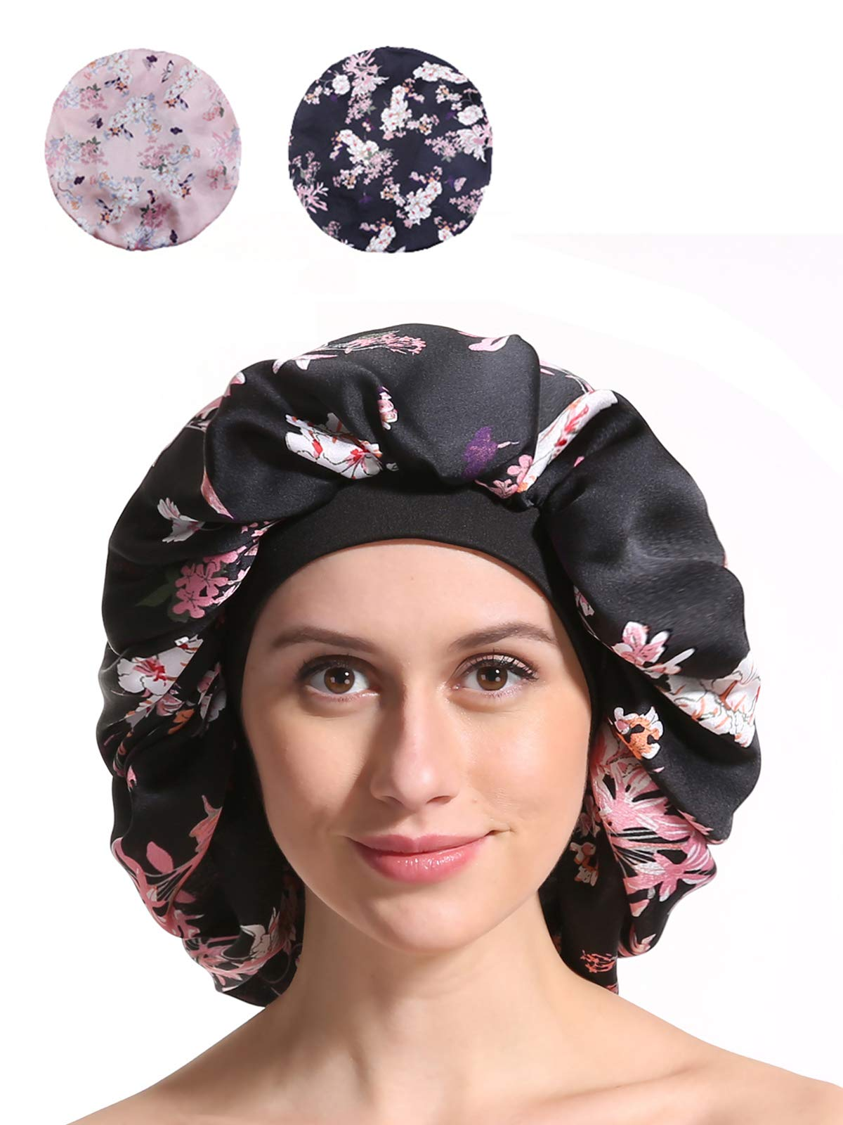 Satin Silk Bonnet Sleep Cap - Printing Soft Extra Large Wide Band S Women Night Hat For Long Curly Natural Hair Cap Salon Silk Scarf Chemo Patient Slouch Slouchy by Enjoy Holiday 1981