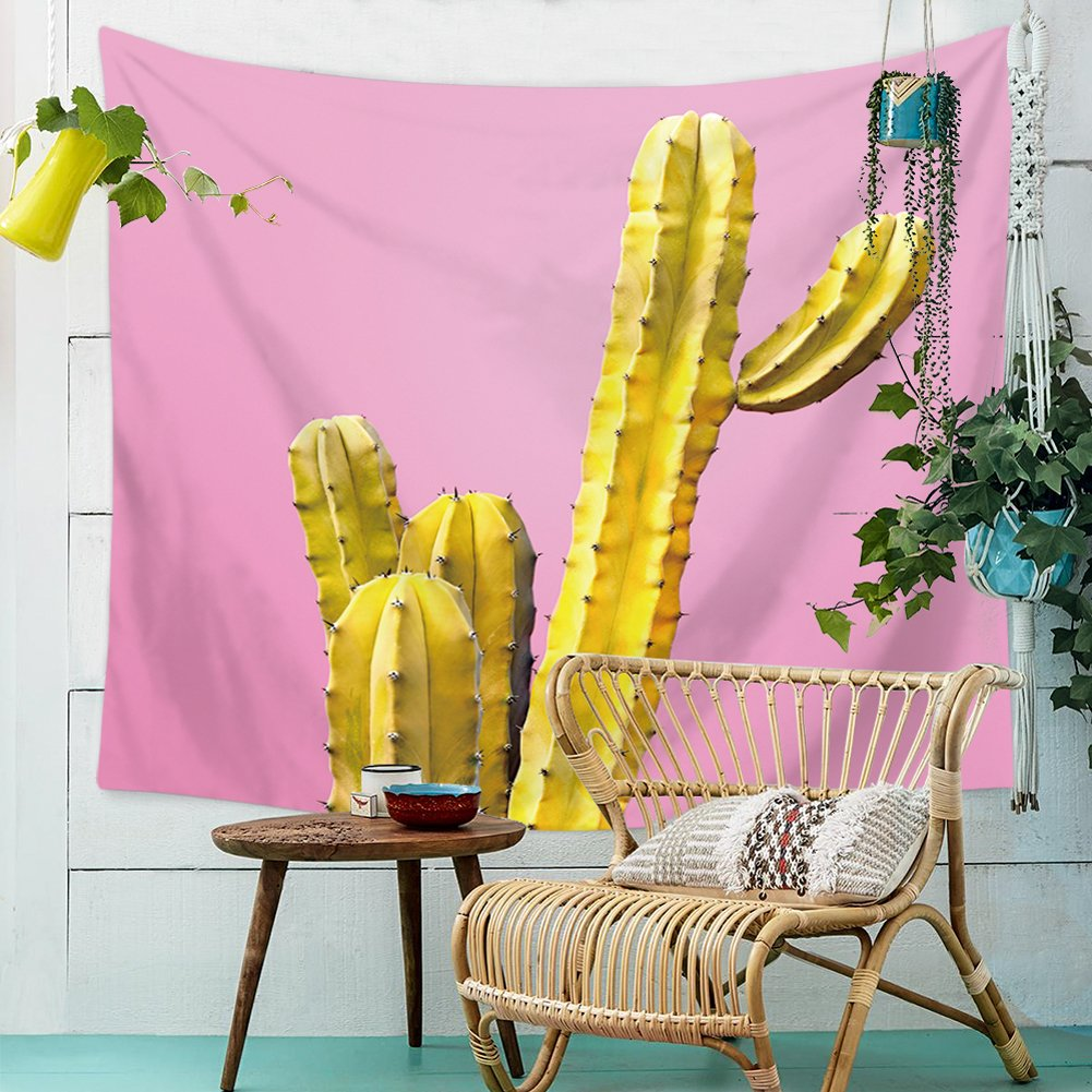 Amazon.com: QCWN Tropical Plant Tapestry Cactus Landscape Wall ...