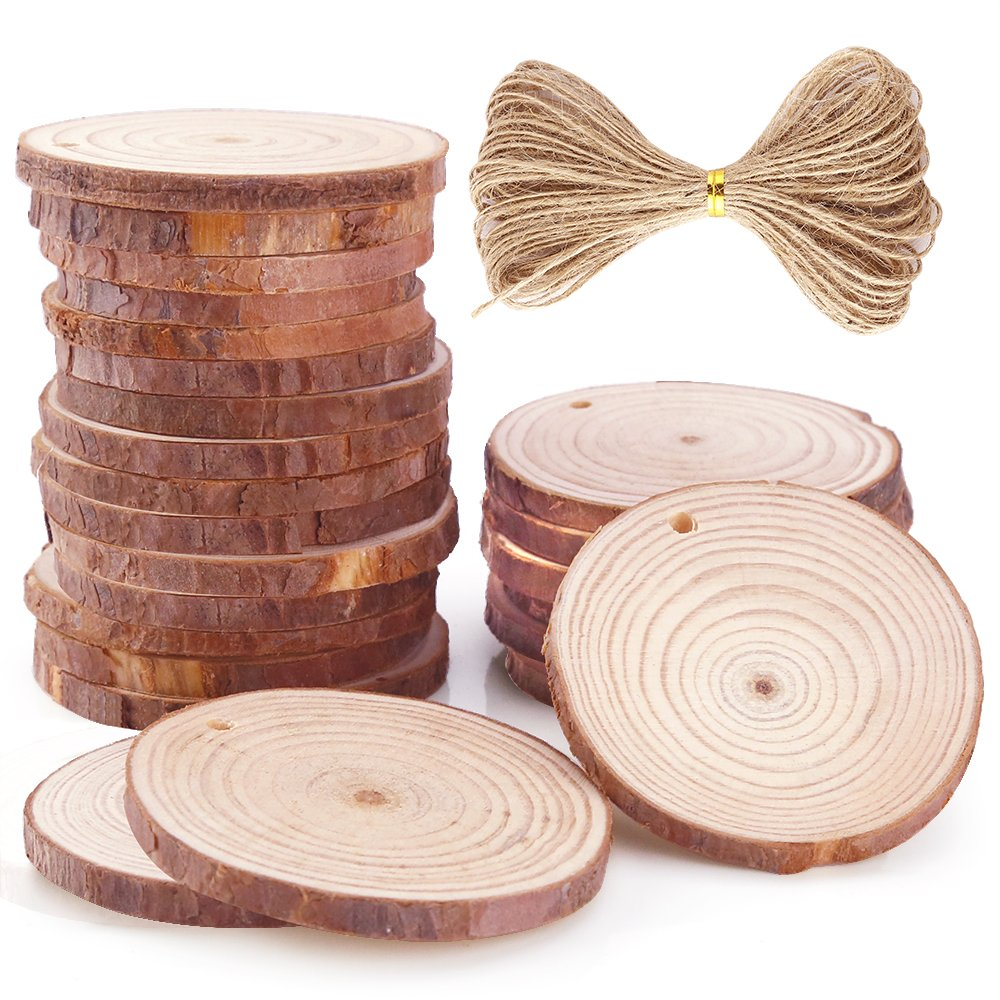 Caydo 24 Pieces 1.96-2.36 Inch Unfinished Predrilled Wood Slices Thickness of 0.5cm Solid Round Log Discs and 33 Feet Natural Jute Twine for Christmas Ornaments Decorations