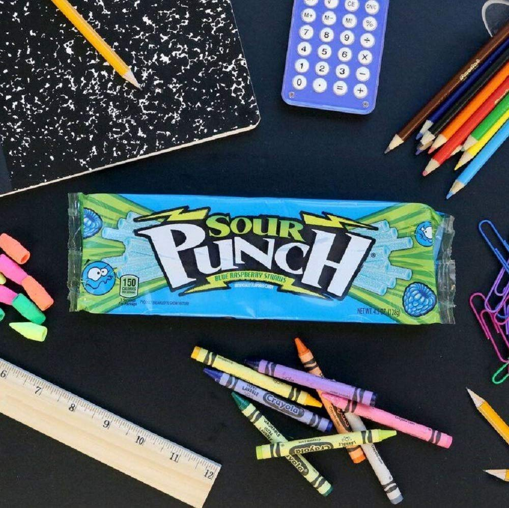 Sour Punch Straws, Blue Raspberry Fruity Flavor, Soft & Chewy Candy, 4.5oz Tray (24 Pack) by Sour Punch (Image #6)