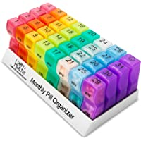 MEDca Monthly Pill Organizer Am/Pm Daily Pill Organizer 32 Compartments for Each Day, Pill Dispenser Dispenser Caddy…