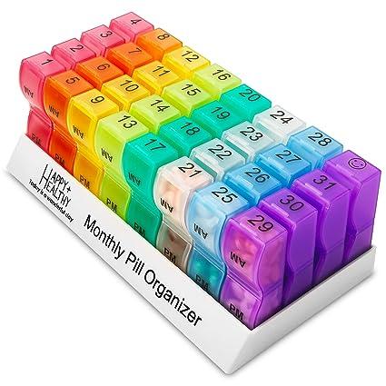 Organizador de pastillas mensuales, 32 compartimentos, organizador de pastillas, 2 veces al día