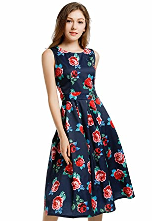 0aba04419c Blooming Jelly Women s Vintage 1950 s Scoop Neck Sleeveless Floral Party  Swing Cocktail Dress (XXL) at Amazon Women s Clothing store