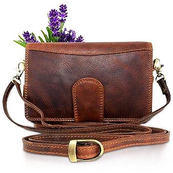 0ccef1dd62223 Umhängetasche Leder I Ledertasche für Damen und Herren als Schultertasche +  Handgelenktasche I Echtleder Vintage Tasche