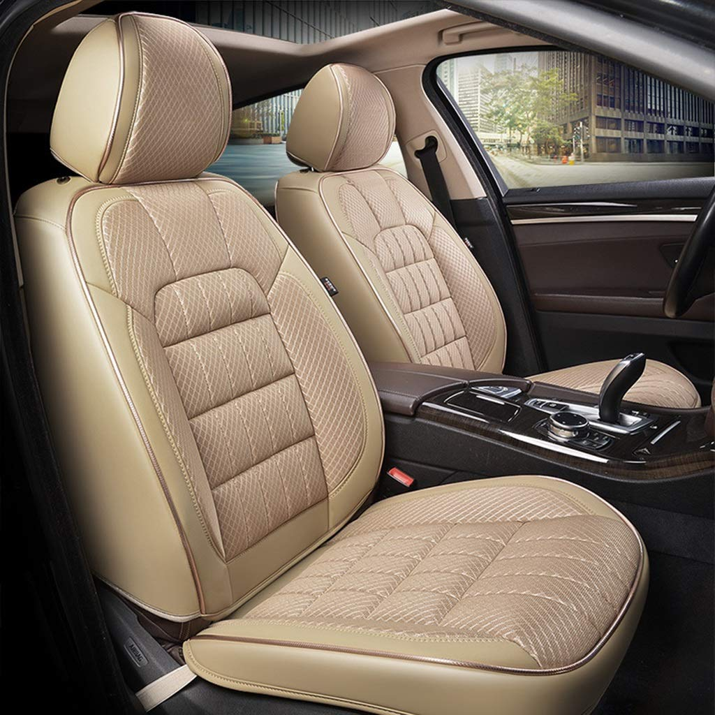 RUNWEI Car Seat Cushion, Fully Enclosed Bamboo Charcoal Cushion, Polyester Fabric (Color : Beige)