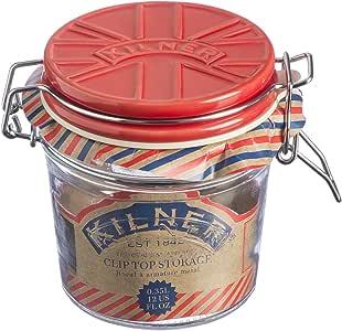Kilner Glass Cliptop Jar with Red Union Flag Ceramic Lid, 12.5 x 10.5 x 11 cm