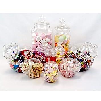 10 x Plastikgläser im viktorianischen Stil für Süßigkeiten-Büffets, Partypackung