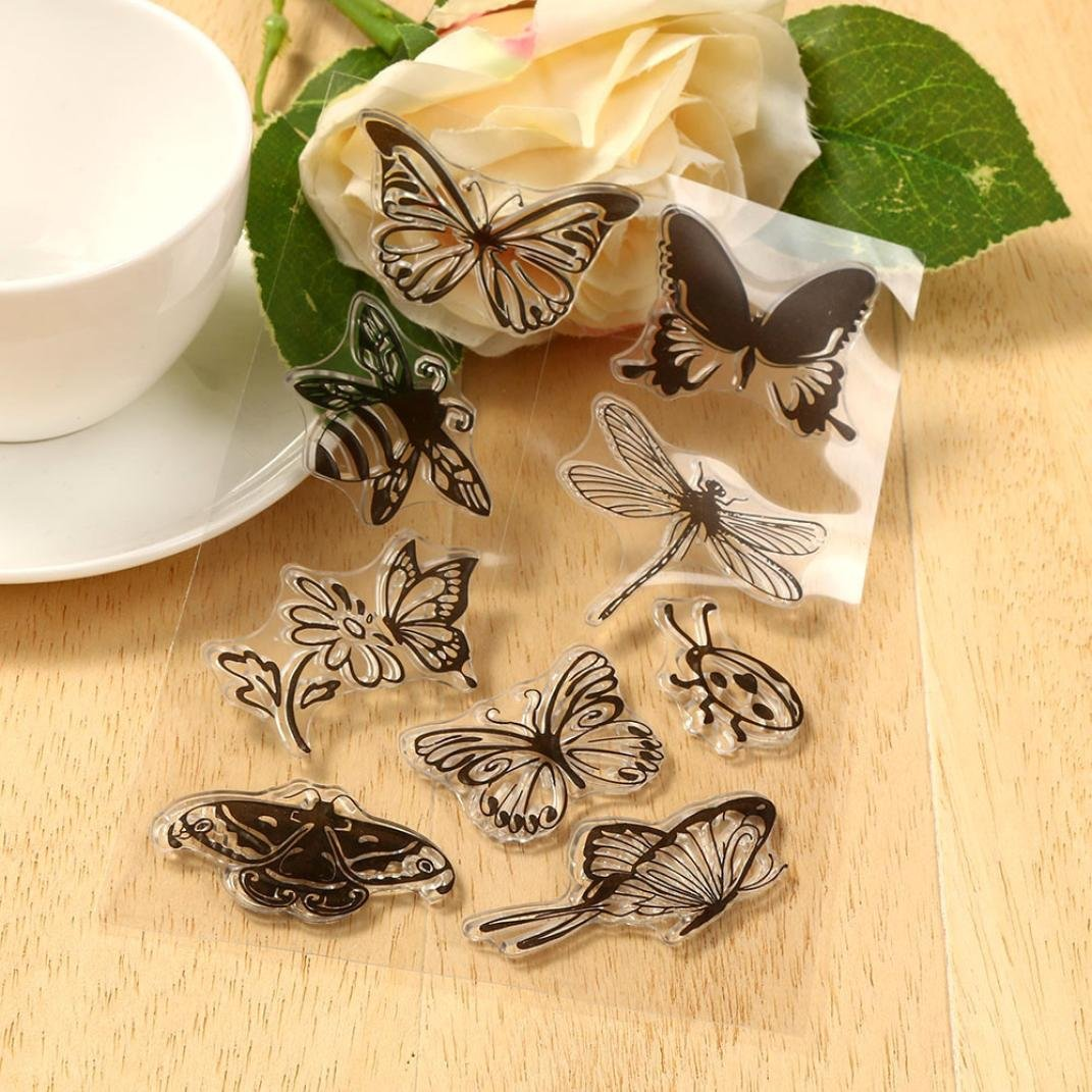 Transer Silicone Butterfly Flower Embossing Folder Template DIY Card Scrapbooking Decor D, Black