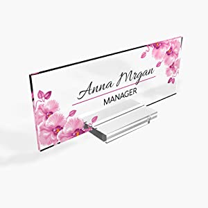 "Personalized Desk Name Plate for Office Sign Modern Office Women Decor Executive Desk Name Plate Desk Name Sign Holder - (8""x3"") - Orchid"