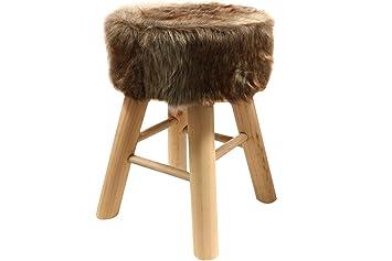 Stuhl Fell fellhocker hocker sitzhocker shemel fußhocker holz felloptik stuhl