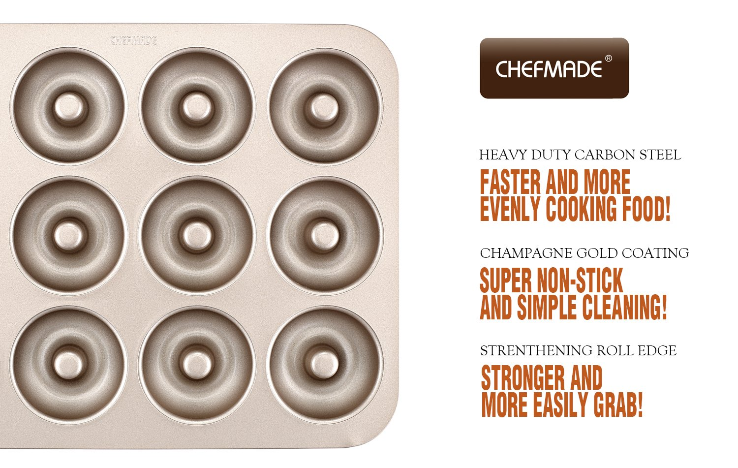 CHEFMADE Donut Mold Cake Pan, 12-Cavity Non-Stick Ring Doughnut Bakeware, FDA Approved for Oven Baking (Champagne Gold) by CHEFMADE (Image #6)