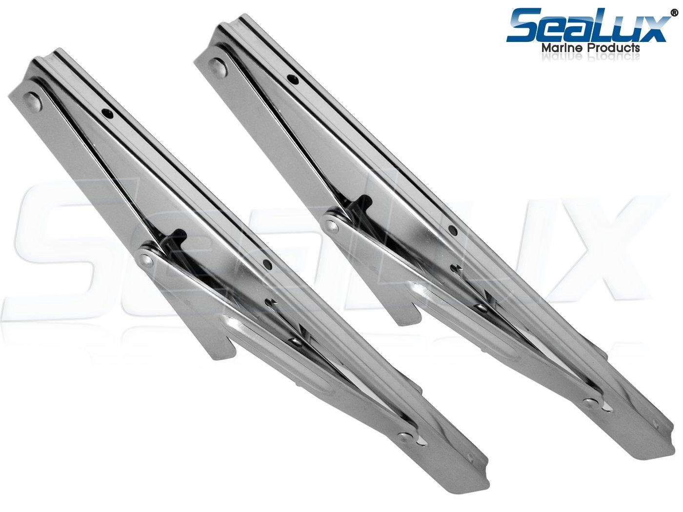 "2Pcs Stainless Steel 12/"" Folding Table Bracket Shelf Bench Support Heavy Duty"
