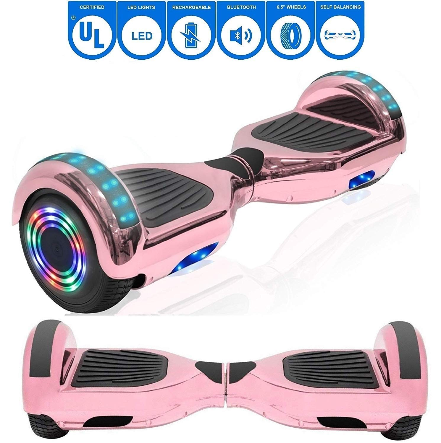 NHT 6.5'' Chrome Edition Hoverboard Self Balancing Scooter w/LED Wheels and Lights (Chrome Rose Gold)