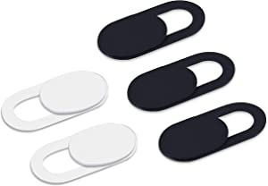 Webcam Cover- 0.03In Ultra Thin-Slide Web Cam Cover- Protect Your Privacy and Security, Strong Adhensive- Compatible Laptop, Desktop, PC, MacBook Pro, iMac, Mac, Computer, Smartphone- (3Black+2White)
