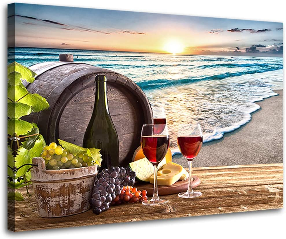 Wine Decor for Kitchen Beach Decor Wine Glass Canvas Prints Artwork Wine Barrel Wall Art for Dining Room Home Bar Decorations Seascape Sea Sunset Family Wall Decorations Restaurant Bedroom Decor 12x16inch