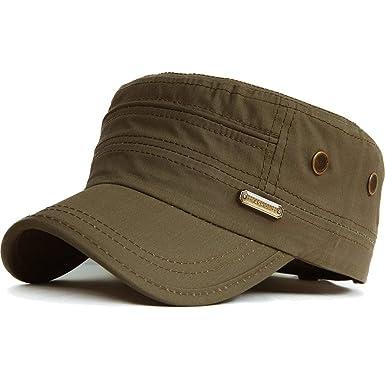 HaiDean Unisex Army Military Flat Cap Cap Vintage Cotton Hombres ...