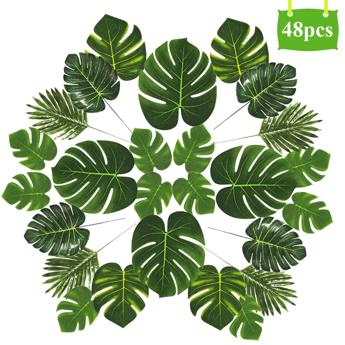 48pcs Artificial Palm Leaves Decorations – 5 Kinds of Tropical Palm Tree Leaves | Faux Plam Leaves with Stem, Monstera Leaves Table Decor for Safari Jungle Theme Party Hawaiian Luau Aloha Beach Party