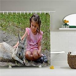 Shower Curtain Schone Cute Fox Und Kanguru Dusche Bathroom Zubehor Badezimmer Set 72 X