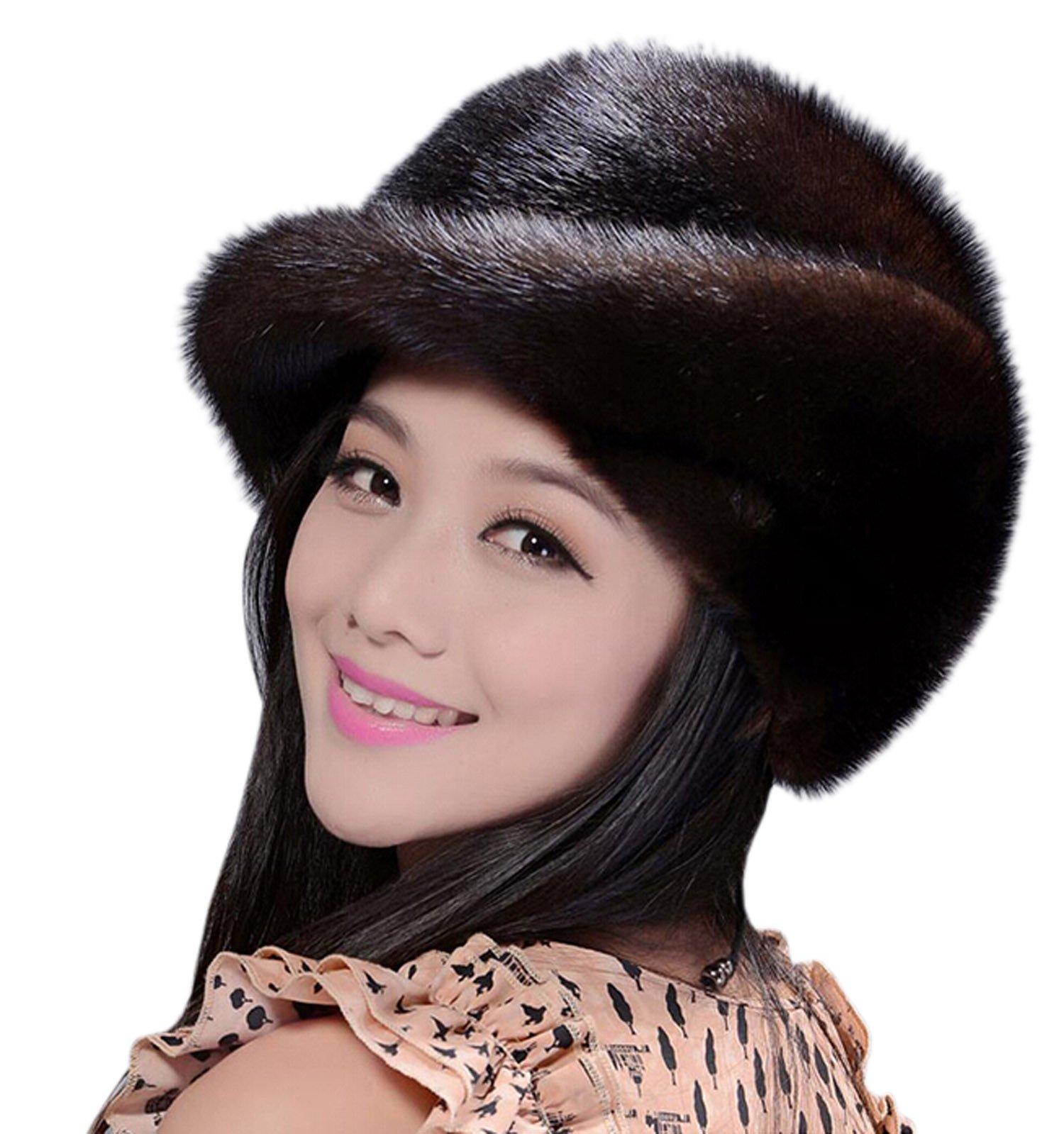 Easting Hot Fashion Women Winter Genuine Mink Fur Hats (Dark Coffee)