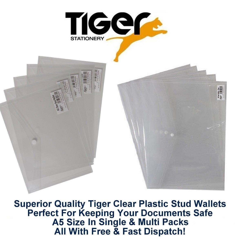 Tiger A5 klar Stud Wallet Ordner Kunststoff Dokument Halter Datei Datei Datei Druckknopf-Brieftaschen (100 Stück) B00MPLNX4M | Mittlere Kosten  6c10f1