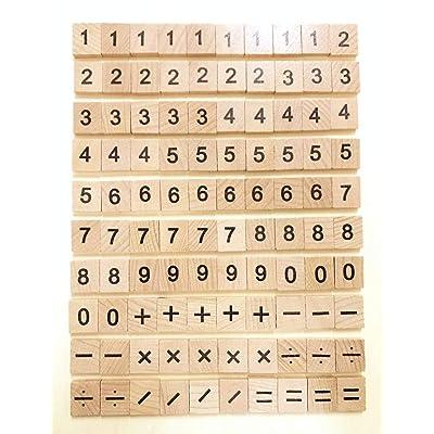 100 madera de azulejos Scrabble Azulejos madera número y símbolo pieza de repuesto para azulejos para juguetes manualidades y preescolar educación por Trimming Shop: Hogar