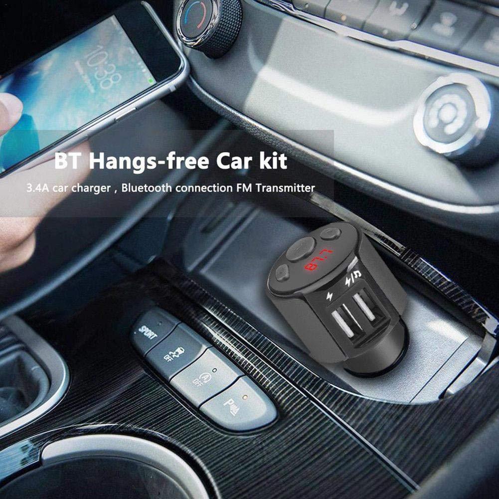 FM Transmetteur Bluetooth Kit De Voiture sans Fil Mains-Libres Adaptateur Radio Le Disque U nest Pas Inclus Voiture Lecteur Mp3 Charge Rapide 2ports,LG,Smartphones HTC Comprim/és Etc