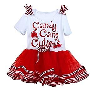 HANYI Toddler Baby Girls Kids Christmas NewYear Xmas TuTu Dress (2T, Red)