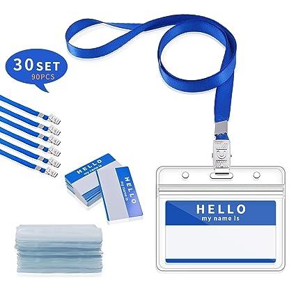Gimars [30 SETS] ID Badge Holder/tarjeta identificativa colgante y funda tarjeta identificación horizontal para conferencias Eventos Empleados ...