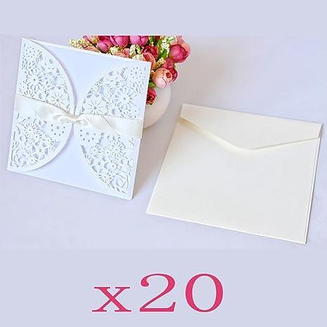 712c6837b431 JZK 20 Fiore bianco partecipazione invito biglietto auguri vuoto +  cartoncino vuoto + busta + nastro
