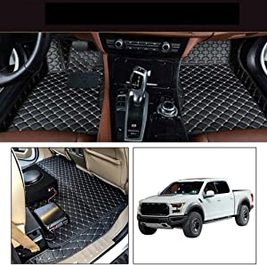 Custom Car Front and Rear Floor Mats Fit for Ford F150 2015-2019 Pickup 4 Door Full Coverage All Weather Protection Waterproof Non-slip Anti-Scratch Leather Auto Floor Liner Carpet Set Black Beige