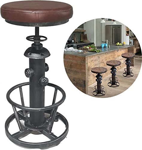 Topower American Antique Industrial Round Bottom Adjustable Height Cafe Coffee Retro Vintage Stylish Water Pipe Design Pub Kitchen Bar Stool Silver, PU Leather