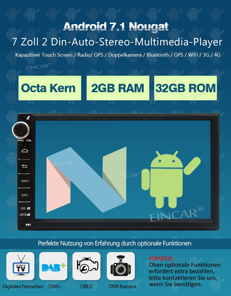 OBD Subwoofer Fastboot USB MicroSD 2 Din Universal EinCar Android 7.1 Auto-Stereo 2GB 32GB Autoradio Multimedia-Player mit GPS-Navigation 7/¡/± Touch Screen Bluetooth WIFI 3G 4G DAB