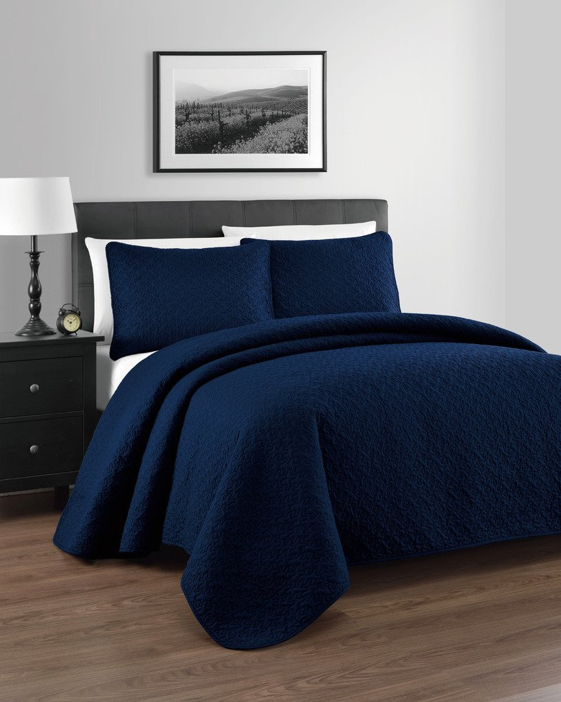 3 Pieces - Full/Queen, Navy Blue Coverlet Set