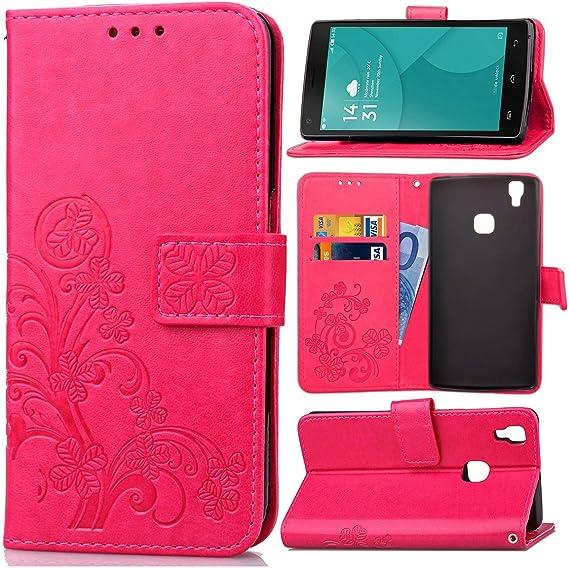 Guran® Funda de Cuero PU para Doogee X5 Max / X5 Max Pro Smartphone Función de Soporte con Ranura para Tarjetas Flip Case Trébol de la suerte en Relieve Patrón Cover: Amazon.es: