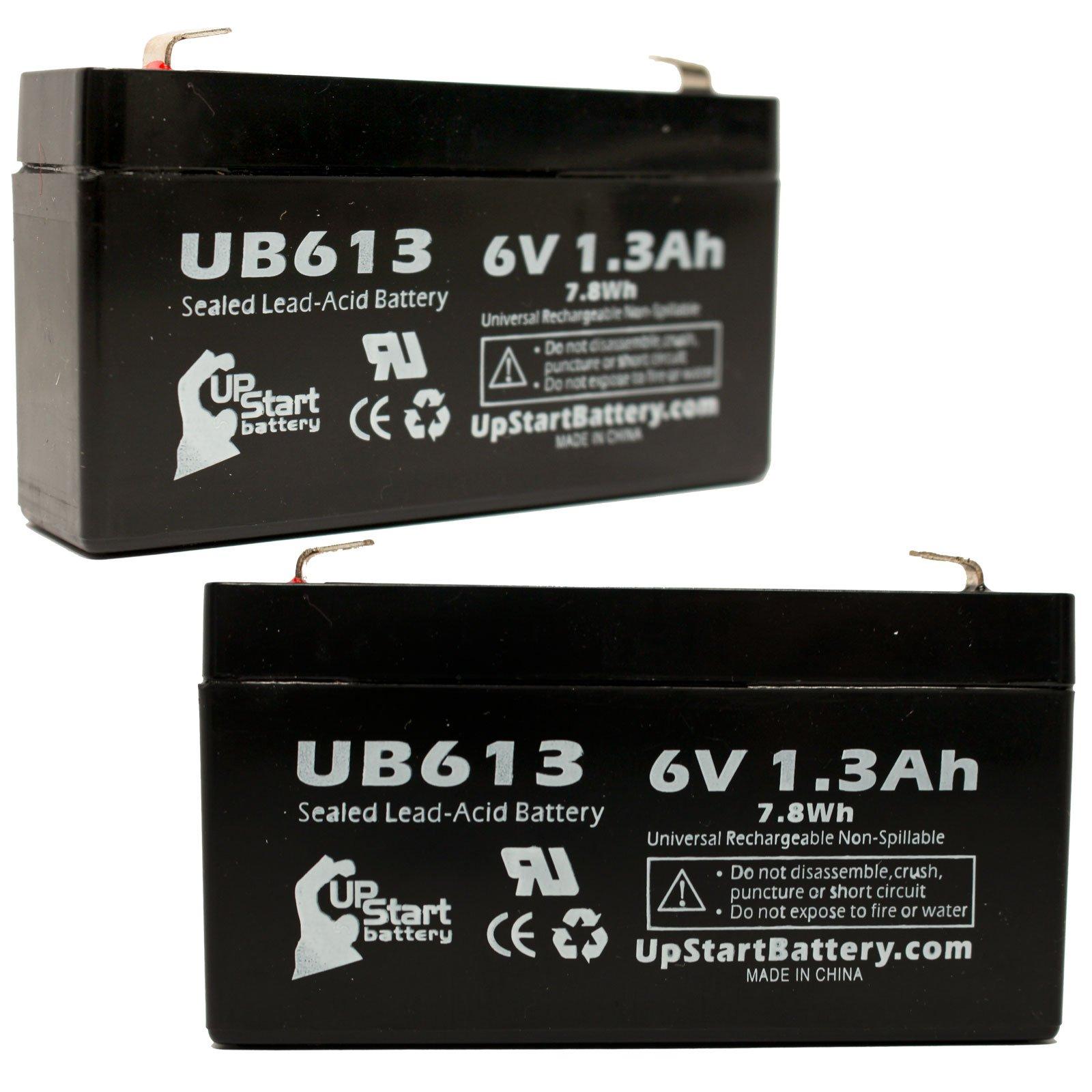2x Pack - UB613 Universal Sealed Lead Acid Battery Replacement (6V, 1.3Ah, 1300mAh, F1 Terminal, AGM, SLA) - Includes 4 F1 to F2 Terminal Adapters - Compatible with LICHPOWER DJW6-12, Casil/Chee Yuen Industrial Ca613, Exitronix Ex6v1.2a, Lichpower Djw6-12, Lintronics Lcr6v1.3p, Toyo 3fm1.3, Tempest Tr1.2-6, B & B Battery Bp1.2-6, Werker Wka6-13f, Star Trac 800-3102, Leoch Djw6-1.2, Jasco Rb612
