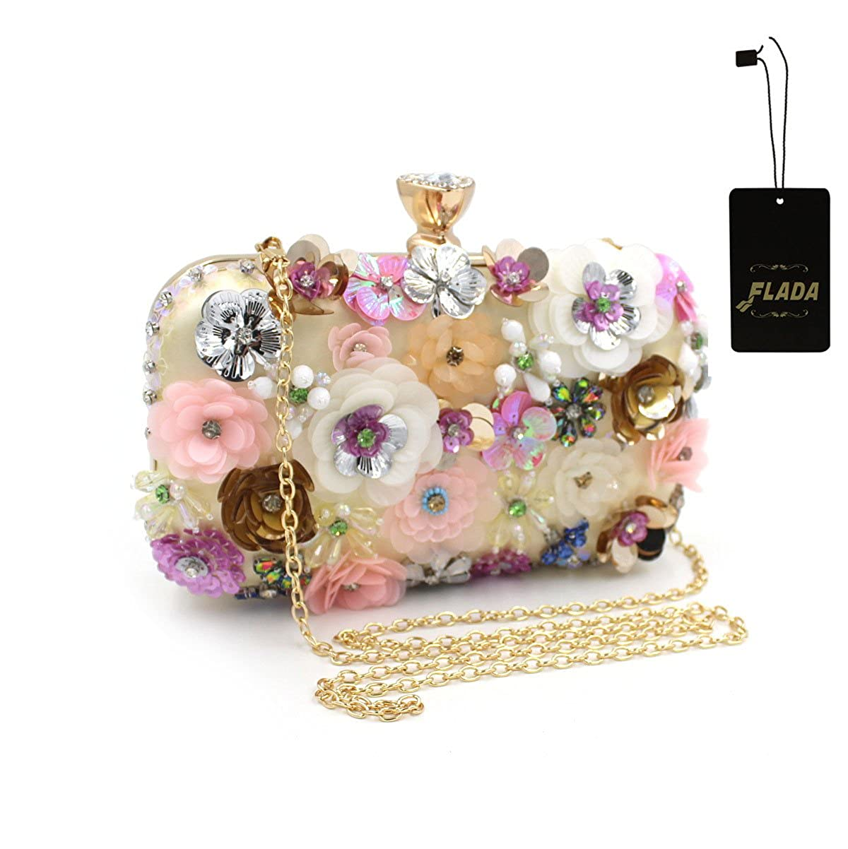 Flada Girls Colored Flowers Rhinestone Clutch Handbag Evening Prom Party Purse Bags Gold