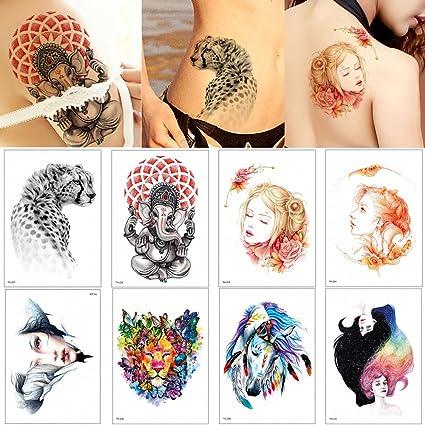8 Hojas De Tatuaje Temporal Acuarela Diseño De Flores Para