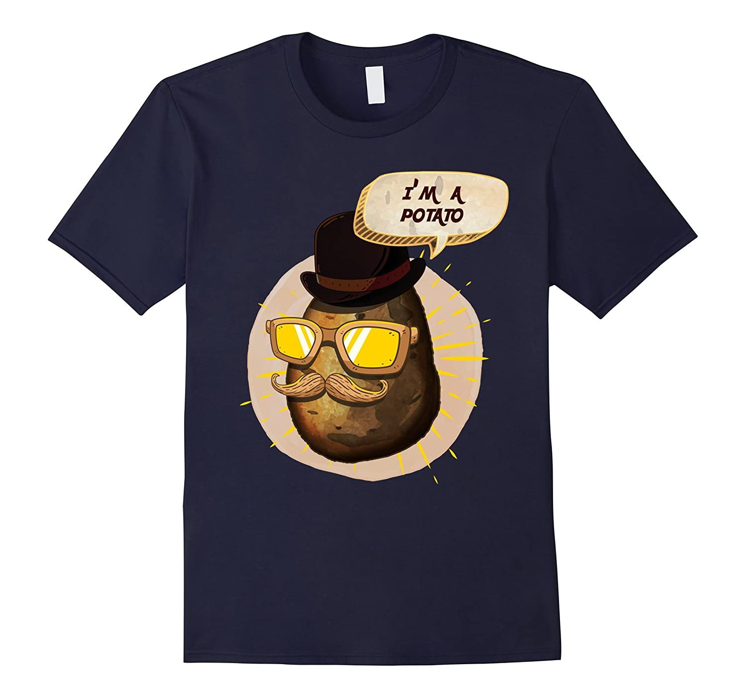 Potato Moustache Glasses Cartoon T Shirt-Tovacu