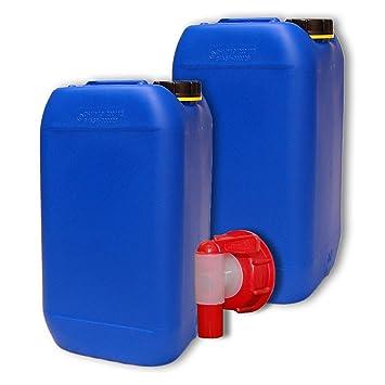 Lote de 2 bidones de polietileno /Jerrycan 15 L Azul HDPE + 1 grifo aeroflow